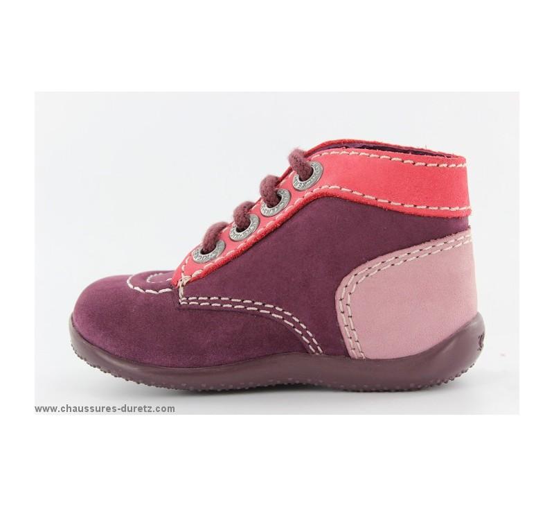 bottines filles kickers bonbon violet fonc corail. Black Bedroom Furniture Sets. Home Design Ideas