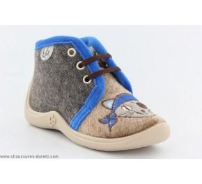Pantoufles bébés Babybotte - MAMOUT2 Bleu / Chien
