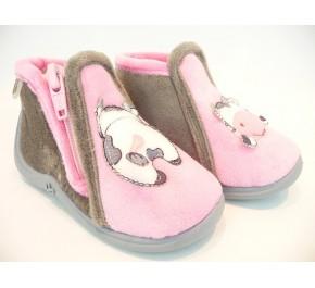 Pantoufles bébés Babybotte - MAMOUT Rouge / Fleurs