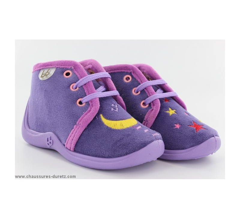 pantoufles b b s babybotte mamout violet etoile. Black Bedroom Furniture Sets. Home Design Ideas