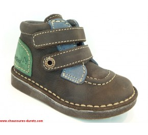 Bottines enfants Kickers - WORLDLY Gris / Bleu