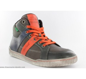 Bottines garçon Kickers WINCUT Kaki / Orange