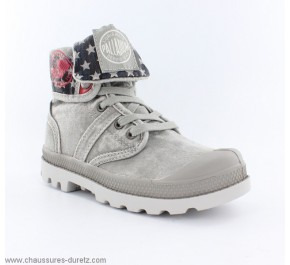 Bottines mixtes Palladium BAGGY KID FLAG Gris