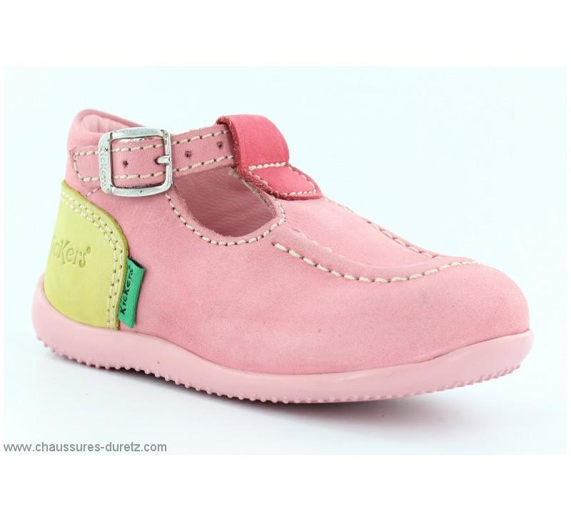 6bfdc1b80af05e Chaussures Bébés Kickers BONBEK Rose / Fuschia / Anis | Bottillons à ...