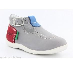 Chaussures bébés Kickers BONBEK Gris clair / Bleu / Rouge