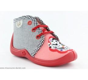 Pantoufles filles Babybotte MAMOUT Corail / Dalmatien