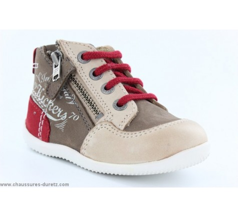 Kickers BE FRENCH Marron / Beige / Rouge