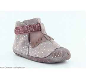 Chaussons fille Babybotte ZAZIE Rose Pois Argent