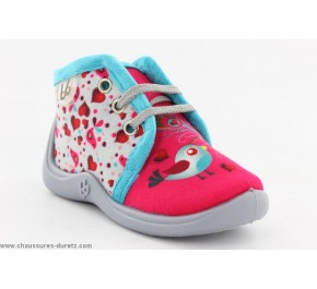 Pantoufles bébés Babybotte MAMOUT Fuchsia / Oiseau