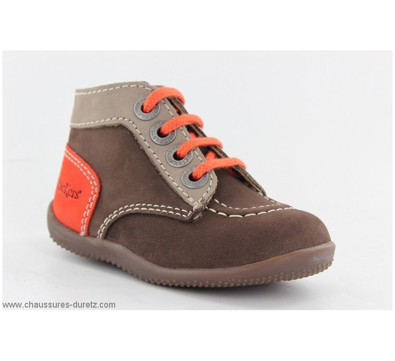 cab060ff571a8 Bottines Bébés Kickers BONBON Marron   Orange