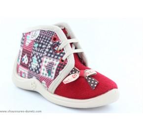 Pantoufles filles Babybotte MAMOUT Rouge / Patchwork
