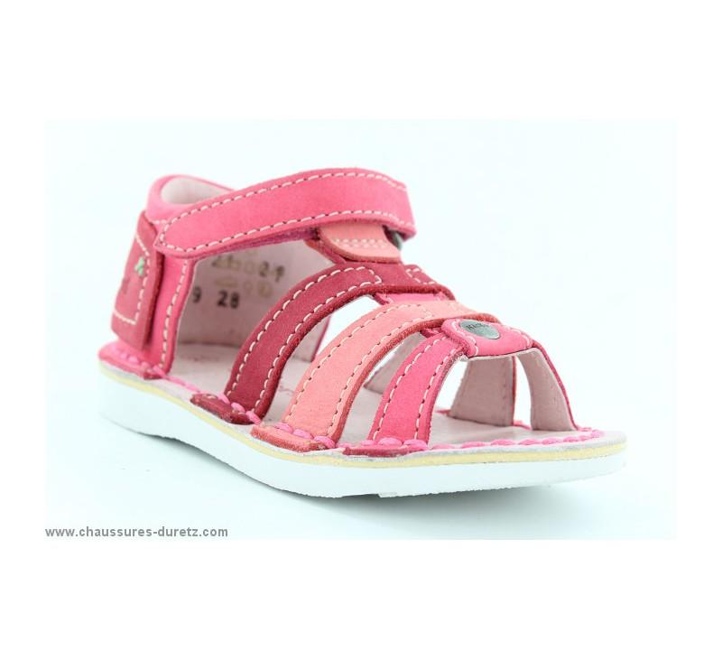 f8cbddbe4cc976 Sandales Kickers WOOPY Fuschia / Corail | Sandales Kickers pour Enfant