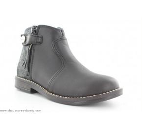 Boots filles Babybotte KENZA Noir / Argent