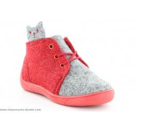 Pantoufles mixtes Babybotte MIAOU Gris / Rouge