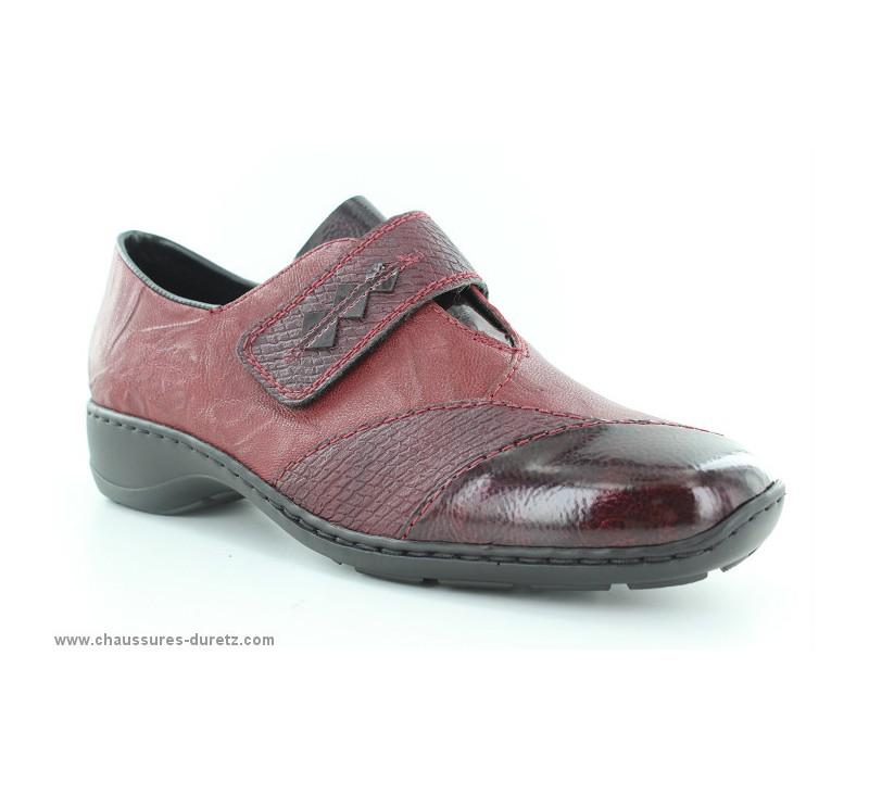 7a90674d11ea Chaussures Rieker AVRA Rouge 58397-35 | Chaussures à velcro Rieker ...