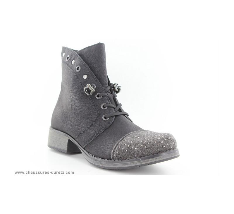 e66739fda80d98 Bottines Rieker AVIS Noir Y9732-45 | Talons plats Rieker pour Femme