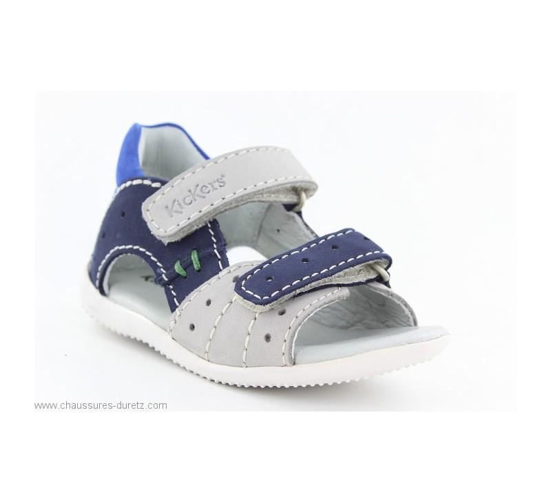 3c3902401839d4 Sandales Kickers BOPING Gris / Marine / Bleu   Sandales Kickers pour ...