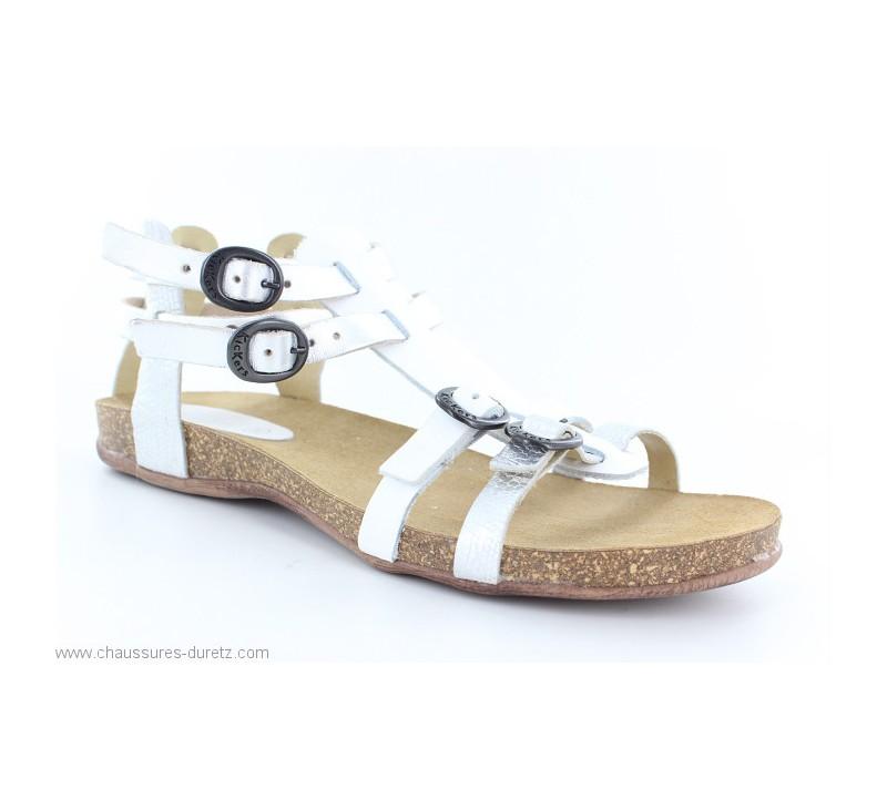 15168e55ab4da9 Sandales Kickers ANA Blanc / Argent | Sandales plates Kickers pour Femme