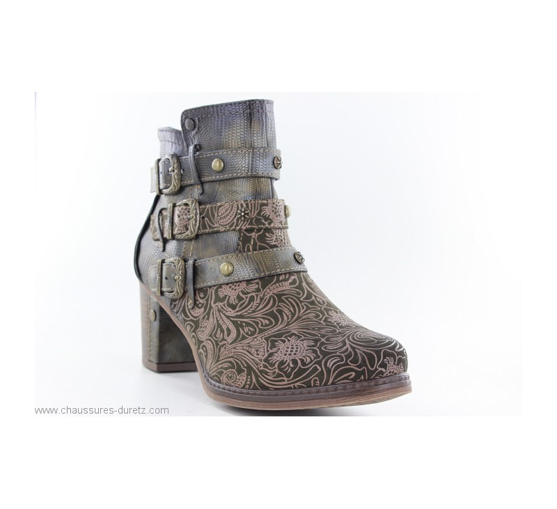 4032bedb9dabcd Boots Mustang FIN Olive   Talons hauts Mustang pour Femme