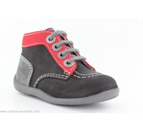 Bottines Bébés Kickers BONBON Noir / Rouge / Gris