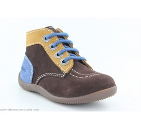 Bottines bébés Kickers BONBON Marron / Beige / Bleu