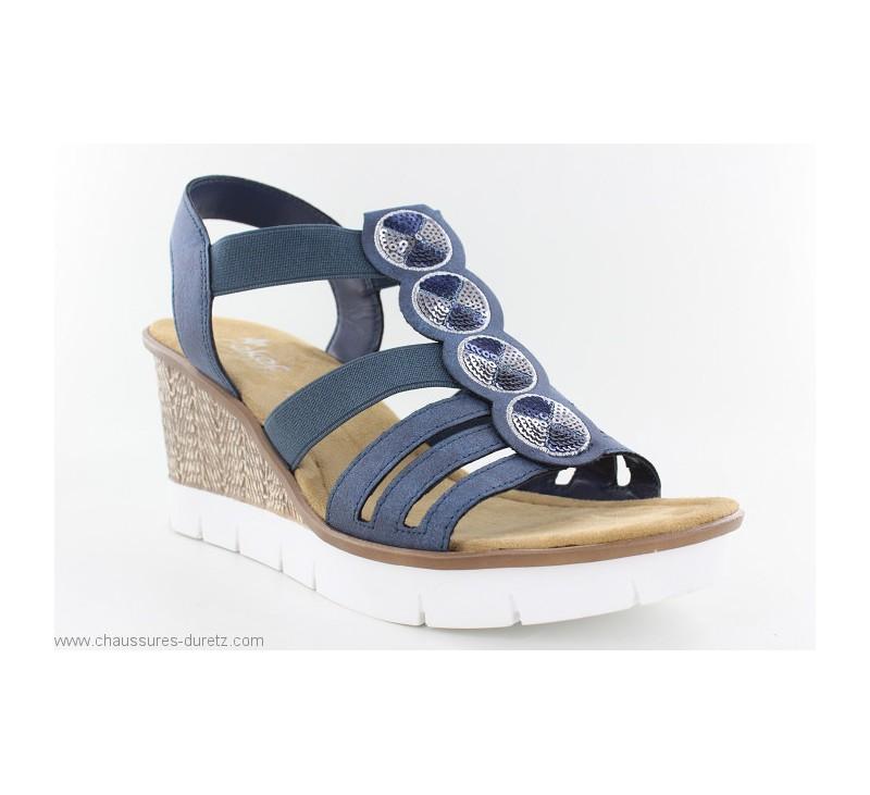 04f701016d6cfa Sandales Rieker DOLLAR Bleu 65515-14 | Sandales compensées Rieker ...