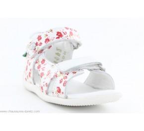 Sandales fille Kickers BINSIA Blanc Fleuri