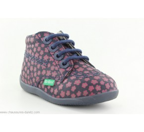 Bottines fille Kickers BILLYZIP Marine / Rose Fleuri