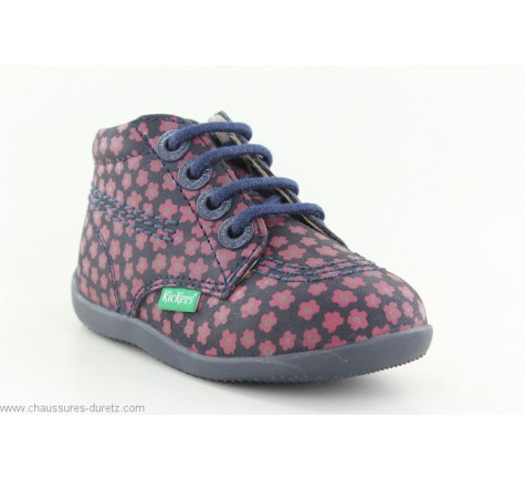 Kickers BILLYZIP Marine / Rose Fleuri