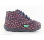 Bottines Kickers BILLYZIP Marine / Rose Fleuri