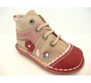 Bottines fille Babybotte KAOUETTE Gris / Rose