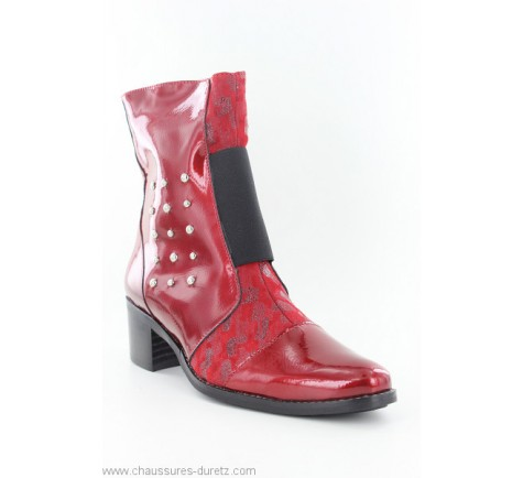 bottine rouge a talon femme