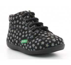 Bottines fille Kickers - BILLYZIP Marine / Rose Fleuri
