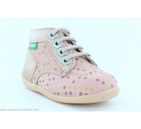 Bottines fille Kickers BONBON-2 Rose Pois