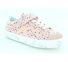 Baskets fille Kickers GODY Rose Pois