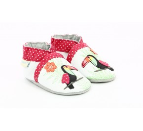 Chaussons fille Robeez TROPICAL TOUCAN Blanc