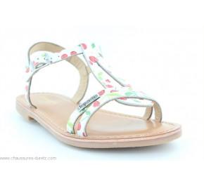 Sandales fillette Les Tropéziennes BADA Blanc / Cerises