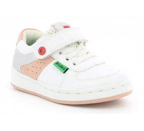 Baskets fille Kickers BILBON Blanc / Rose / Argent