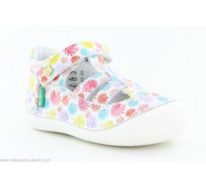 Chaussures fille Kickers - SUSHY Blanc Fleuri