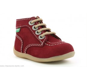 Bottines bébés Kickers BONZIP-2 Bordeaux Beige
