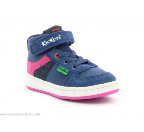 Baskets fille Kickers BILBON Mid Marine Rose