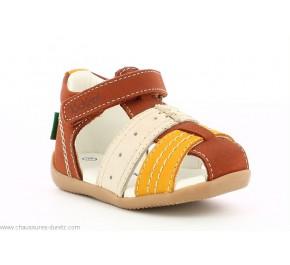 Sandales garçon Kickers BIGBAZAR-2 Camel / Jaune / Blanc