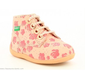 Bottines fille Kickers BONBON-2 Rose flower