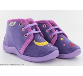 Pantoufles bébés Babybotte - MAJIK Violet / Chat