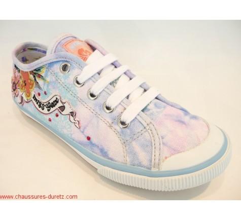 Chaussures Geox KIWI GIRL Fleur Bleu   Baskets Mode Geox pour Enfant d2f8ed35bb0b